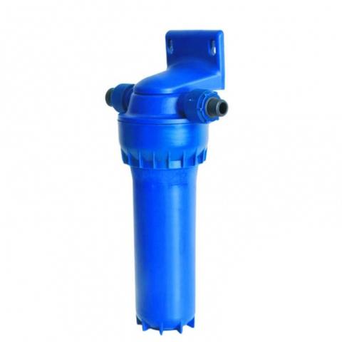 Корпус фильтра предварительной очистки Аквафор для холодной воды синего цвета с картриджем в комплекте.