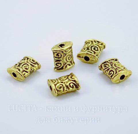 """Бусина металлическая прямоугольная """"Спирали"""" 8х7 мм (цвет - античное золото)"""