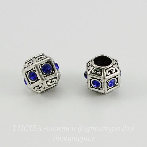 Бусина металлическая для пандоры с синими стразами (цвет - античное серебро) 11х10 мм