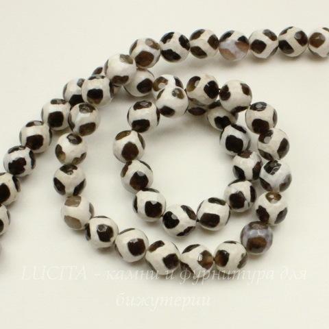Бусина Агат, шарик с огранкой, цвет - бежево-коричневый, 8 мм, нить