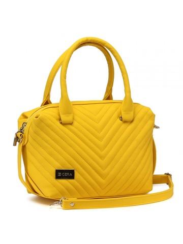 Желтая сумка с декоративной отстрочкой
