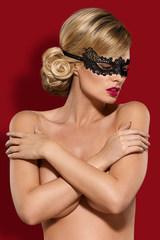 Эротическая маска на глаза кружевная черная