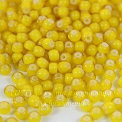 Бисер 8/0 Preciosa прозрачный с цветным центром, желтый