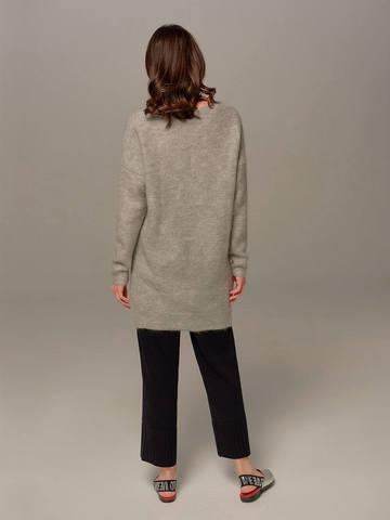 Женский удлиненный джемпер светло-серого цвета с V-образным вырезом - фото 3