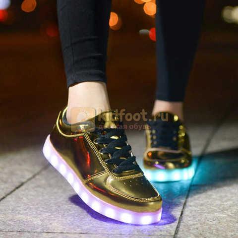 Светящиеся кроссовки с USB зарядкой Fashion (Фэшн) на шнурках, цвет золотой, светится вся подошва. Изображение 8 из 8.
