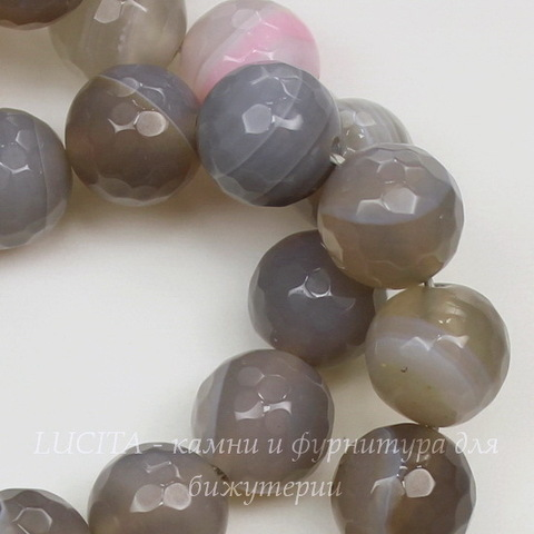 Бусина Агат, шарик с огранкой, цвет - дымчатый серый с белыми полосками,10 мм,нить