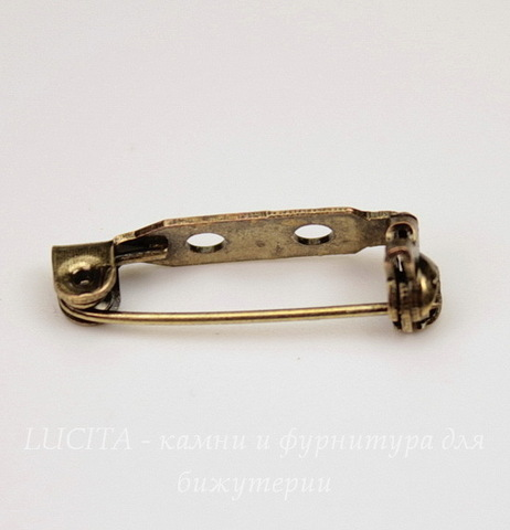 Основа для броши с замочком 21х5 мм (цвет - античная бронза)