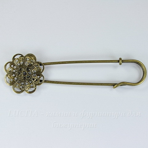 Основа для броши - булавка c филигранным цветком (цвет - античная бронза) 78х22 мм