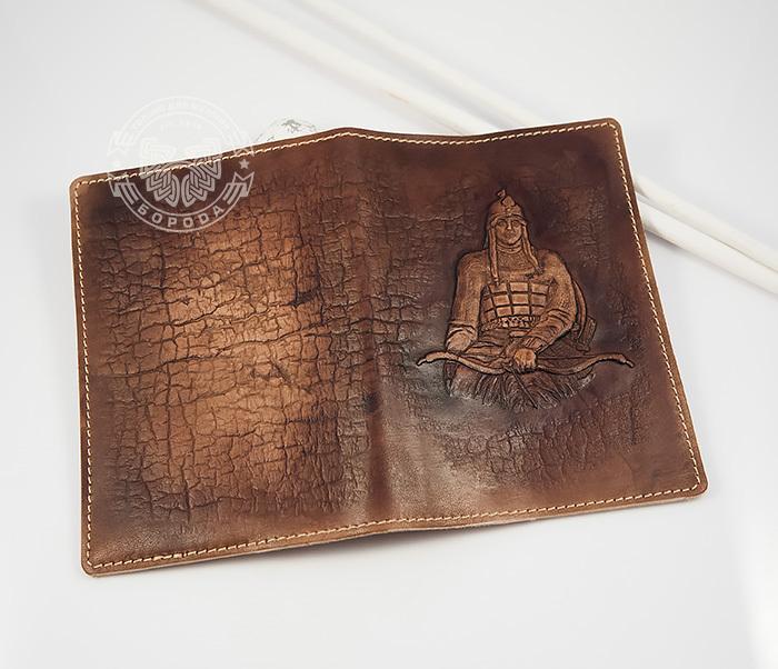 BY14-34-03 Кожаная обложка на паспорт «Алеша Попович» фото 04