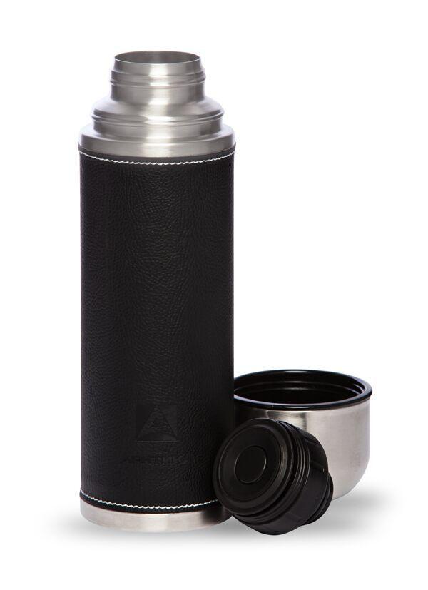 Термос Арктика (0,7 литра) с узким горлом, черный, кожаная вставка