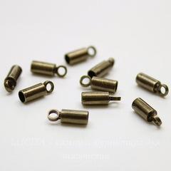 Концевик для шнура 2,2 мм, 8х3 мм (цвет - античная бронза), 10 штук
