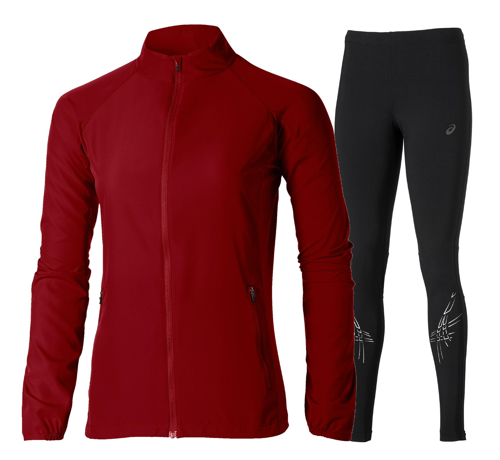 Женский беговой костюм Asics Woven Stripe (110426 6010-121333 0904) красный фото