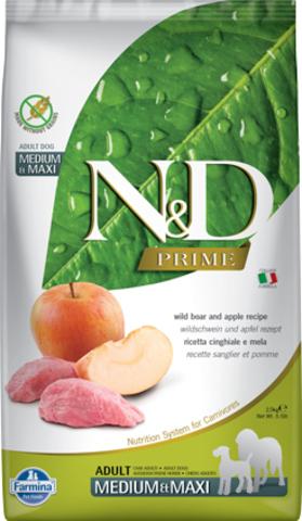 Farmina N&D Prime для собак средних и крупных пород, кабан с яблоком, беззерновой. 12 кг.