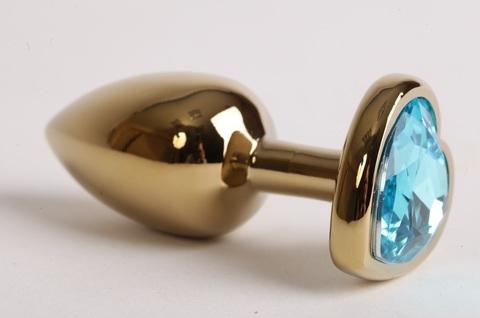 Анальная пробка золото 7,5 х 2,8 см с сердечком голубой страз размер-S, сталь