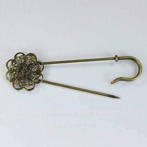 Основа для броши - булавка c филигранным цветком 22 мм, 78 мм (цвет - античная бронза)