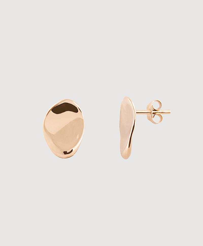 Золотые овальные серьги-пуссеты