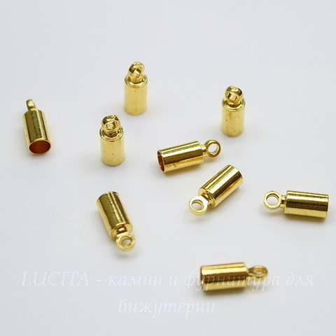 Концевик для шнура 3 мм, 9х3,5 мм (цвет - золото), 10 штук
