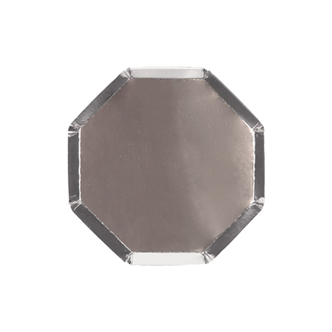 Серебряные фольгированные коктейльные тарелки