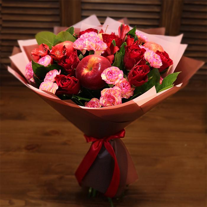 Доставка цветов Пермь дизайнерский осенний букет розовый