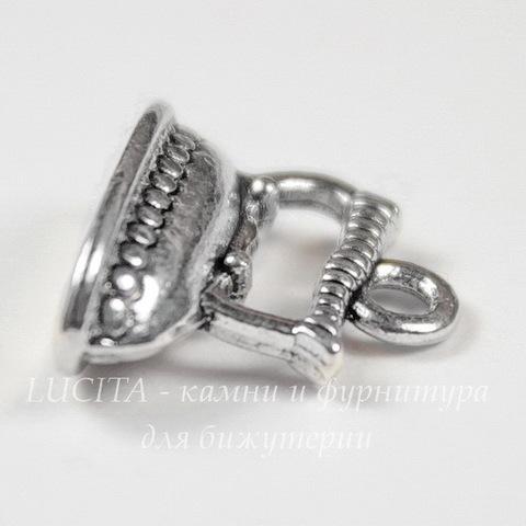 """Подвеска """"Утюг"""" 3D 15х13 мм (цвет - античное серебро)"""
