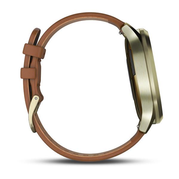 Garmin Vivomove HR Premium золотые со светло-коричневым кожаным ремешком