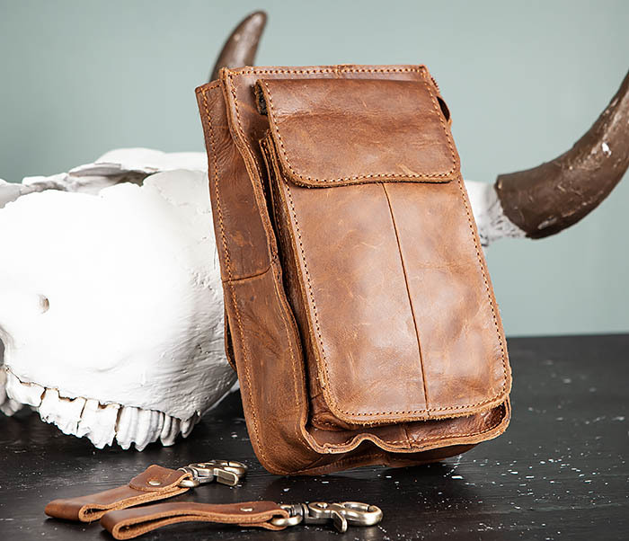 BAG492-2 Кожаная мужская сумка на ремень («Crazy Horse») фото 01
