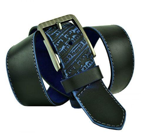 Мужской синий кожаный ремень 45Millen-324