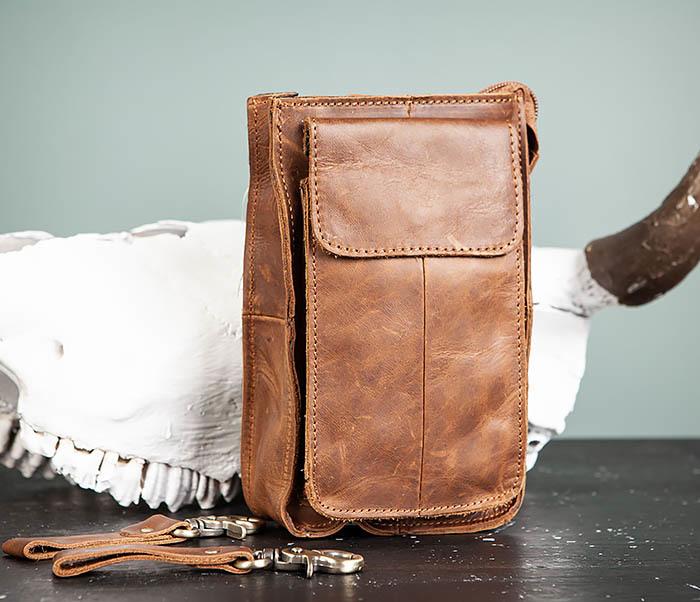 BAG492-2 Кожаная мужская сумка на ремень («Crazy Horse») фото 02