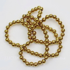 Бусина Гематит (искусств), шарик, цвет - золото, 4 мм, нить