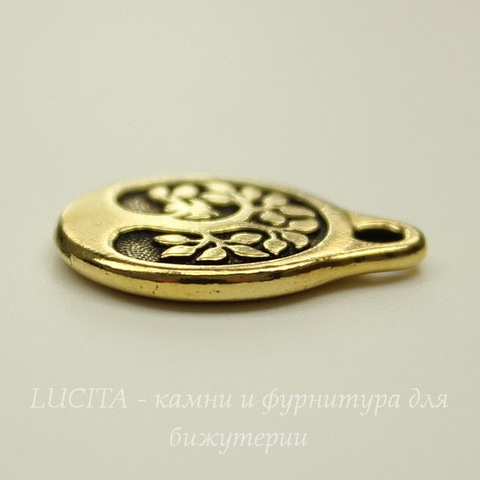 """Подвеска круглая TierraCast """"Дерево"""" (цвет-античное золото) 20х16 мм"""