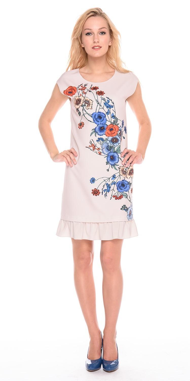 Платье З203-792 - Прямое платье с флористическим принтом сглаживает линию бедер и идеально подходит для летних образов. Волан по низу платья добавляет образу женственности и романтичности. Цельнокроеный рукав в модели формирует женственную линию плеча и скрывает возможные недостатки. В составе ткани платья есть эластан, что обеспечивает комфорт и отличную посадку по фигуре.