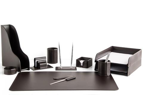 Настольный набор офисный 11 предметов из кожи цвет шоколад
