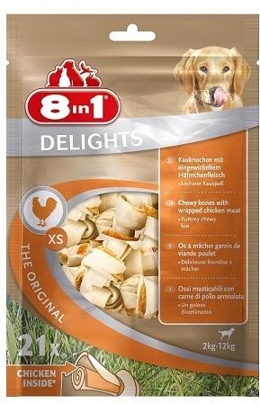 Лакомства Лакомство для собак, 8in1 DELIGHTS XS, косточки с куриным мясом для мелких собак. 7,5 см 21 шт (пакет) 102533.jpg