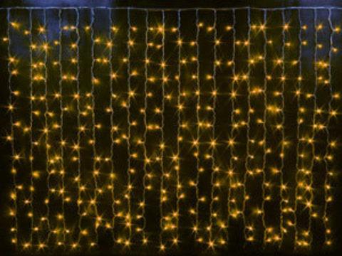 Гирлянда светодиодный занавес 2*1,5, с контроллером, цвет Желтый, провод прозрачный