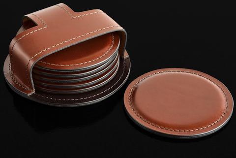 Набор костеров (6 шт) BUVARDO PREMIUM из кожи Full Grain Toscana/Cuoietto шоколад