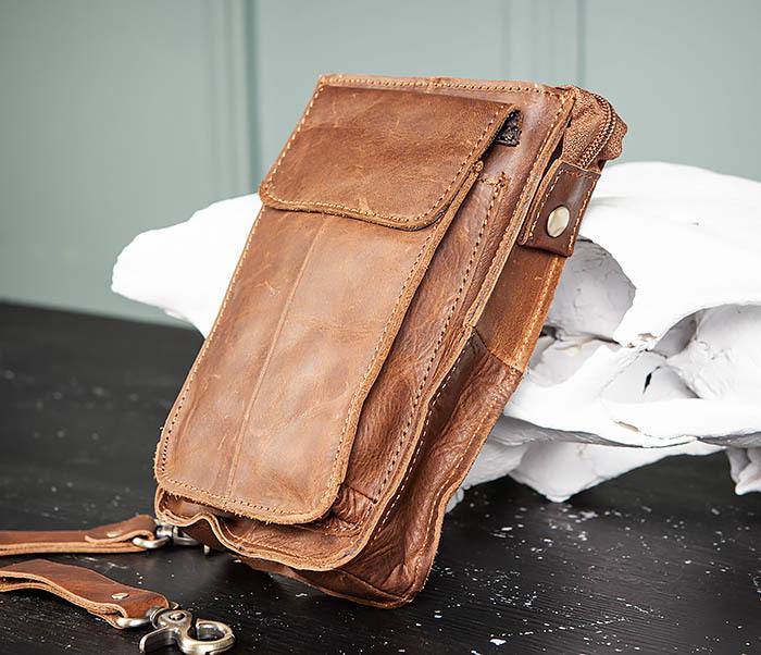 BAG492-2 Кожаная мужская сумка на ремень («Crazy Horse») фото 03