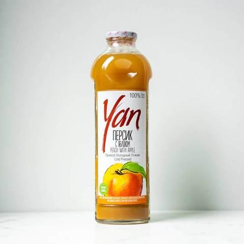 Сок персиковый с яблоком без сахара Yan, 930 мл