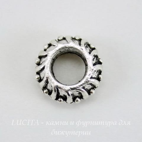 Бусина металлическая для пандоры - рондель 11х4 мм (цвет - античное серебро)