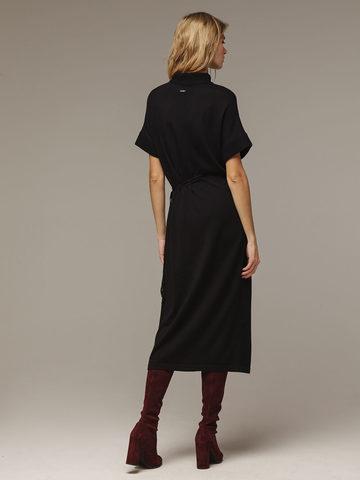 Женское черное платье из 100% шерсти - фото 2