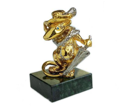 Подарочная статуэтка «Мышь с зонтом» 7см. Позолота