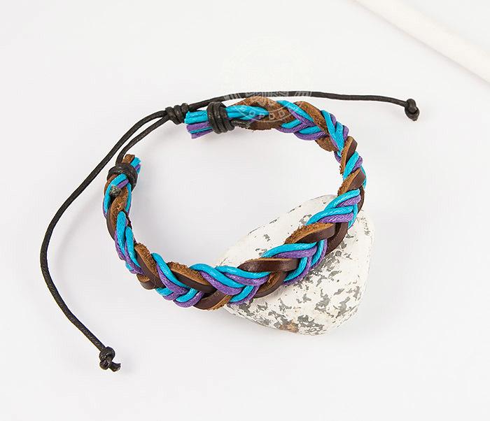 Spikes, Яркий плетеный мужской браслет из натуральной кожи, «Spikes»