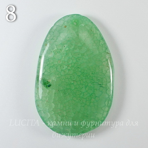 """Подвеска Агат """"Крэкл"""" (тониров), цвет - зеленый (№8 (61х40 мм))"""