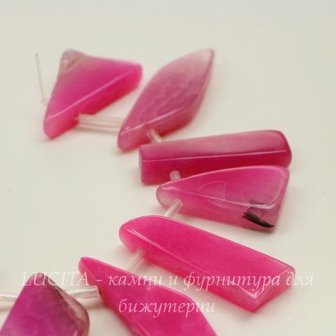 Бусина Агат (тониров), цвет - розовый, нить