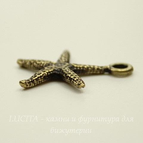 """Подвеска TierraCast """"Морская звезда"""" (цвет-античная латунь) 21х18 мм"""