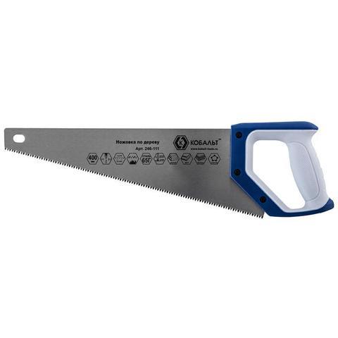 Ножовка по дереву КОБАЛЬТ 400 мм, шаг 3,5 мм/ 7 TPI, закаленный зуб, 3D-заточка, двухкомпонентная рукоятка, чистый рез