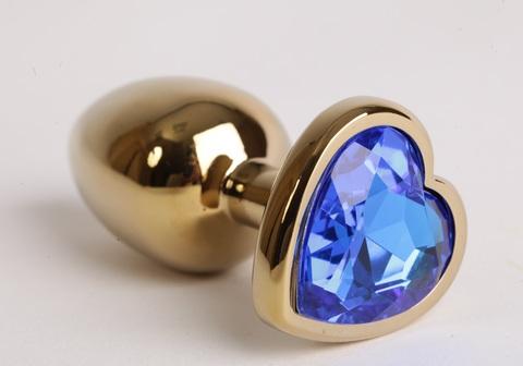 Анальная пробка золото 7,5 х 2,8 см с сердечком синий страз размер-S, сталь