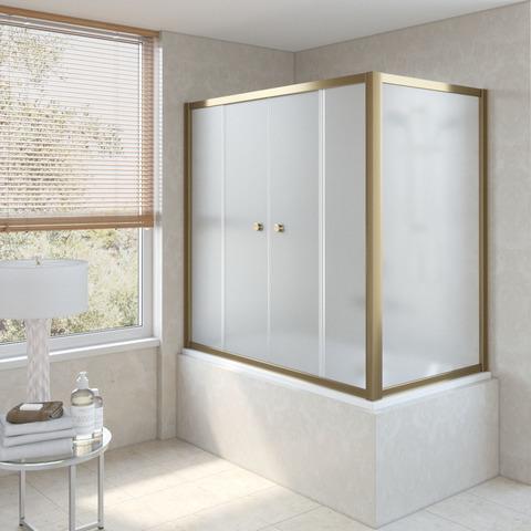 Шторка на ванну Vegas Glass Z2V+ZVF профиль бронза, стекло сатин