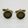 Основа для запонок с сеттингом для кабошона 12 мм (цвет - античная бронза), 19х18 мм, ПАРА