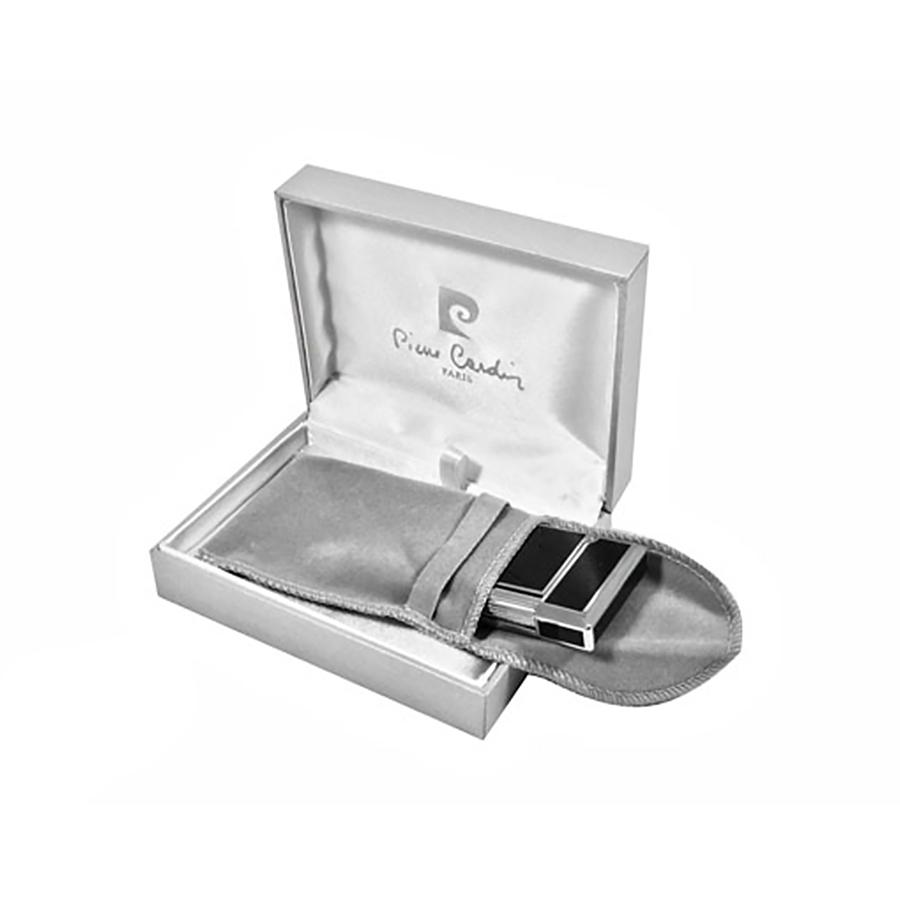 Зажигалка Pierre Cardin кремниевая газовая, цвет хром/черный лак, 3,7х1,1х6см
