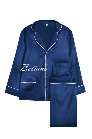 Синяя детская пижама из натурального шелка для девочки или мальчика на любой возраст купить в Киеве в Украине по фото